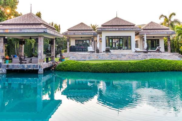 Custom Design Luxury Bali 4 Bedroom Pool Villa for sale at  Luxury Bali Pool Villa with amazing qualities throughout.